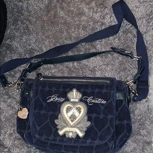 Navy blue velvet Juicy Couture lap top bag